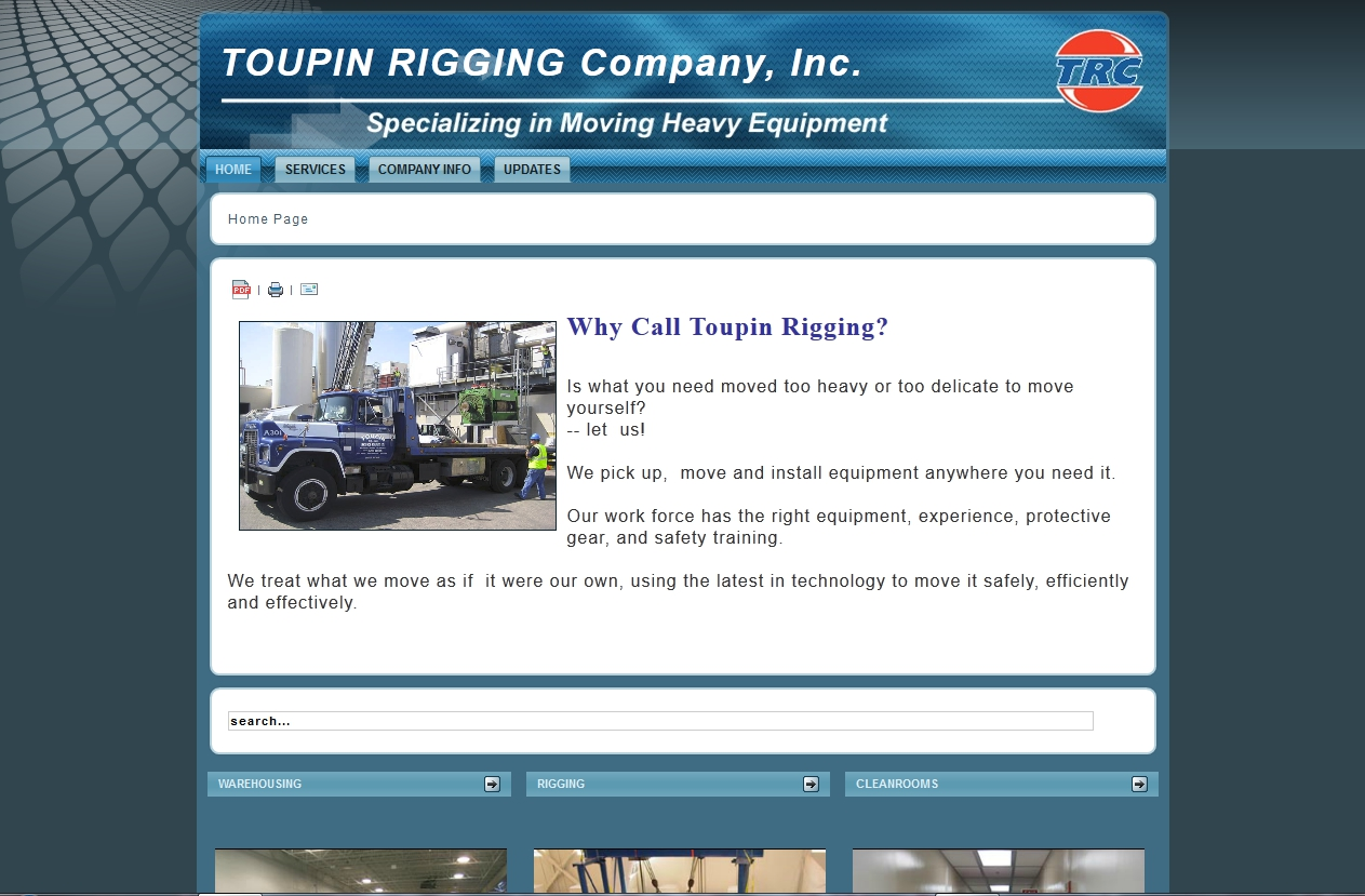Toupin Rigging Website Homepage